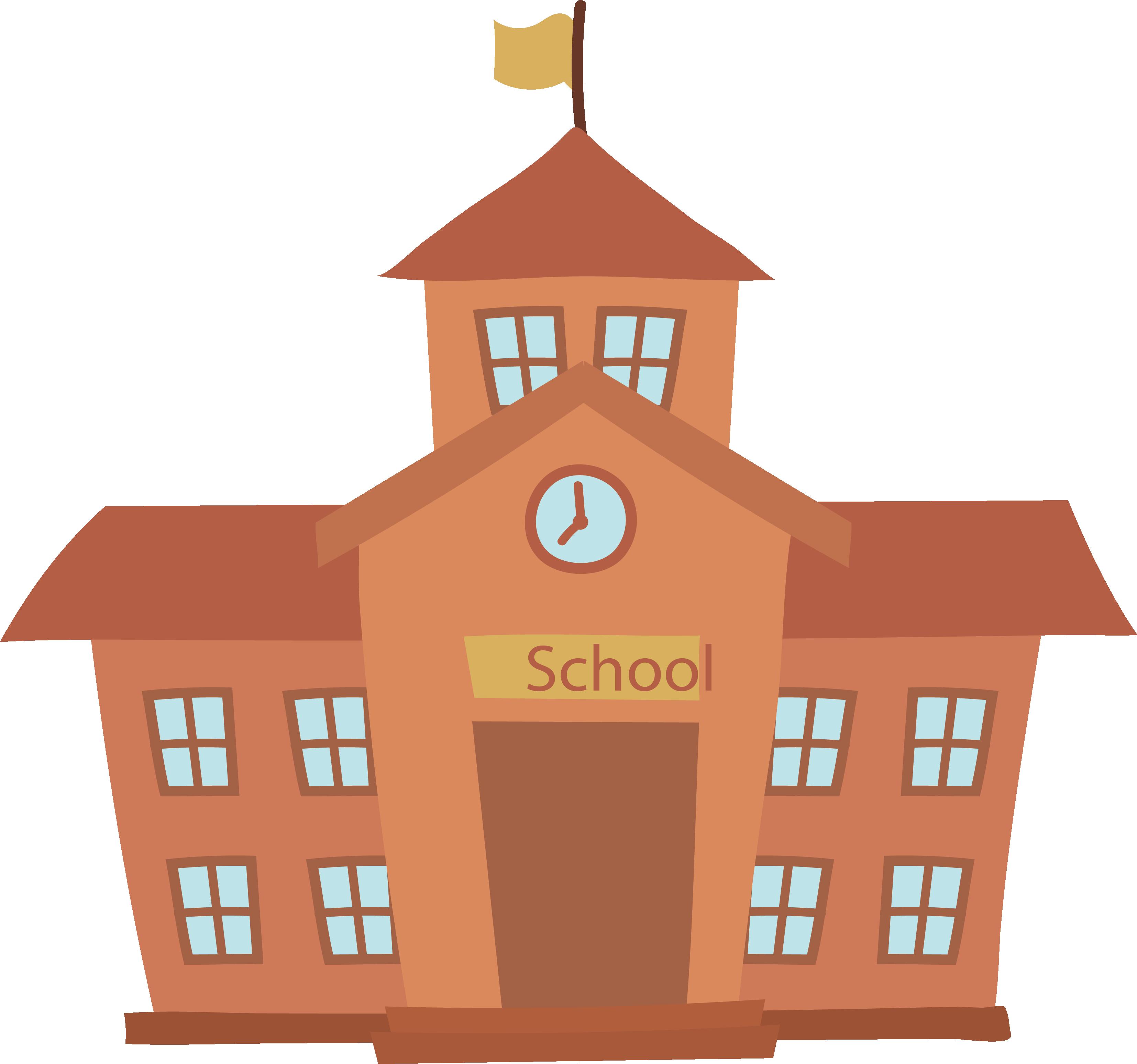 School cartoon building.