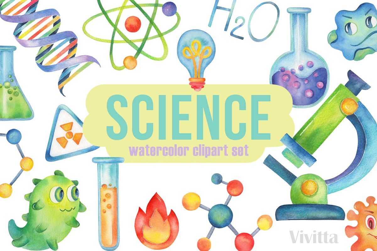 Science watercolor clipartchemistry.