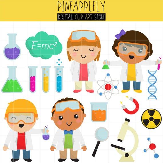 Cute scientists school.