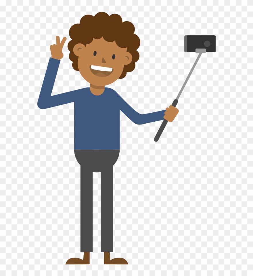 Black Man Taking A Selfie Cartoon Vector