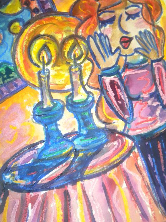 Lighting Shabbat Candles, Jewish Woman, Judaica Art, Jewish