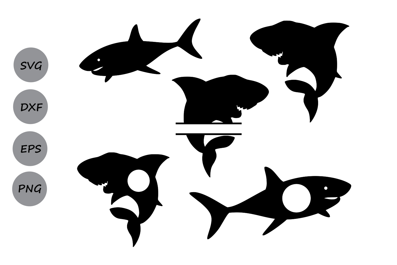 Shark svg silhouette, shark monogram svg, shark clipart, Shark SVG File  Cutting file, Svg For Silhouette, Svg For Cricut, svg, dxf, eps
