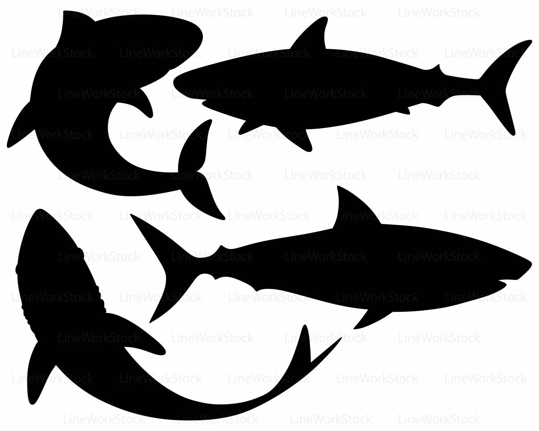 Shark silhouette clipart.