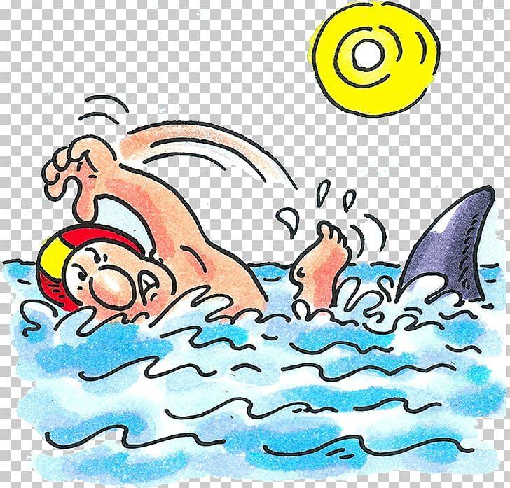 Shark cartoon swimming.
