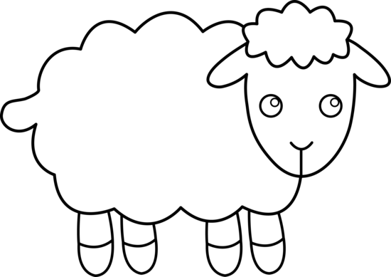 Black and white clipart of lamb