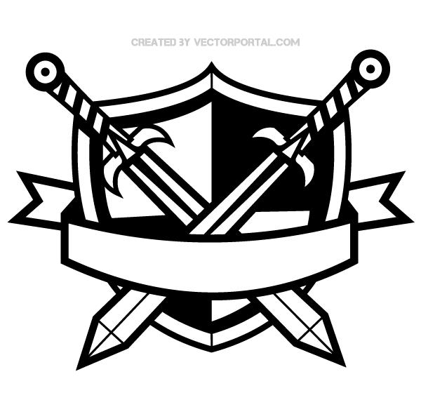 Heraldic shield with.