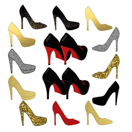 Shoes Clipart, High Heel Clipart, Sparkle Wedding Clipart