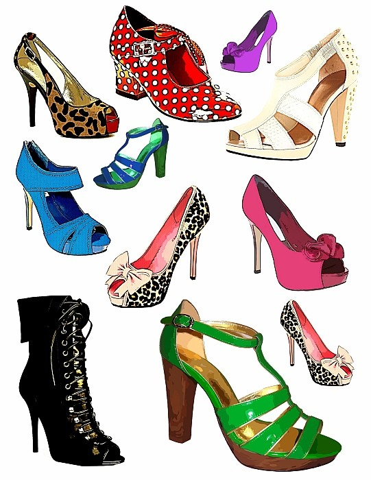 Fashion shoes clipart.