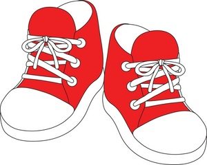 Red tennis shoes.