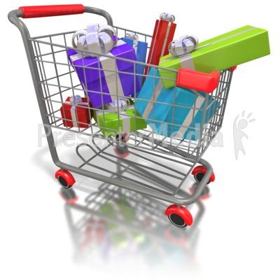 Shopping cart presents.