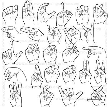 sign language clipart alphabet