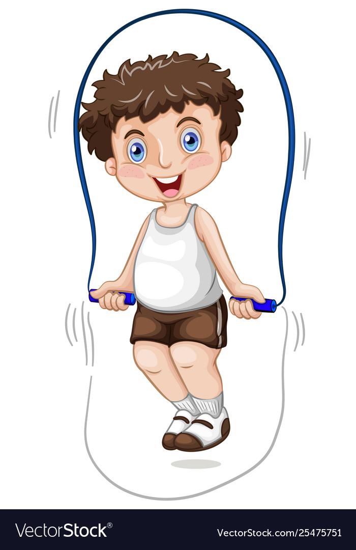 A boy skipping rope
