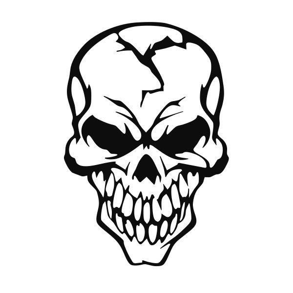 Skull vinyl decal.