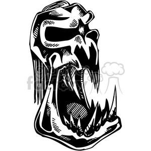 Evil skull tattoo design clipart