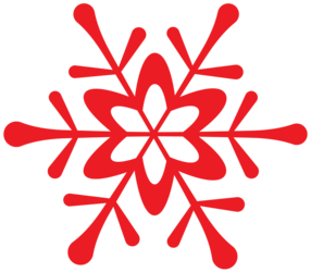 Winter red snowflake.
