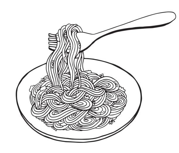 Pasta clipart black.