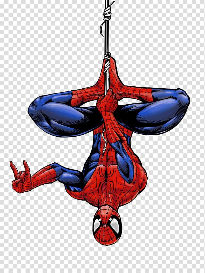 Spiderman resting upsidedown.
