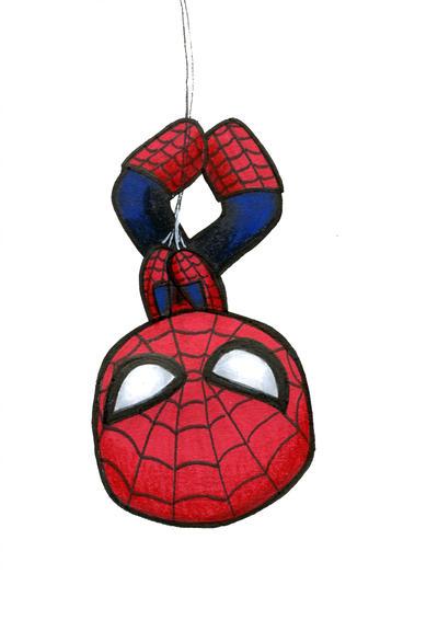 Spiderman hanging upside.