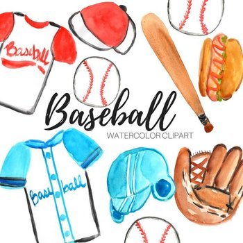 Watercolor baseball sports.