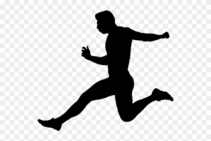 Person running silhouette.