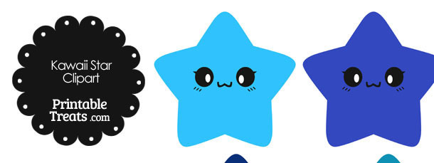 Kawaii Star Clipart in Shades of Blue