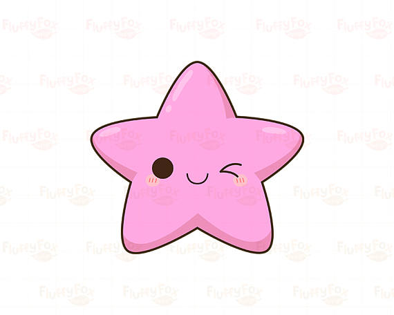 Kawaii Star Clipart, Cute Stars Clip Art Galaxy Happy Funny