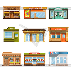 Store shop front window buildings icon set flat