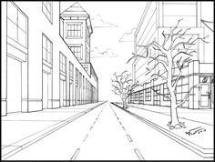 Drawn street perspective.