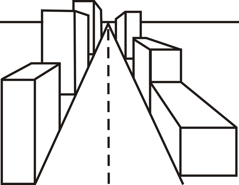 Street perspective drawing.