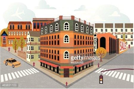 Cartoon town street.