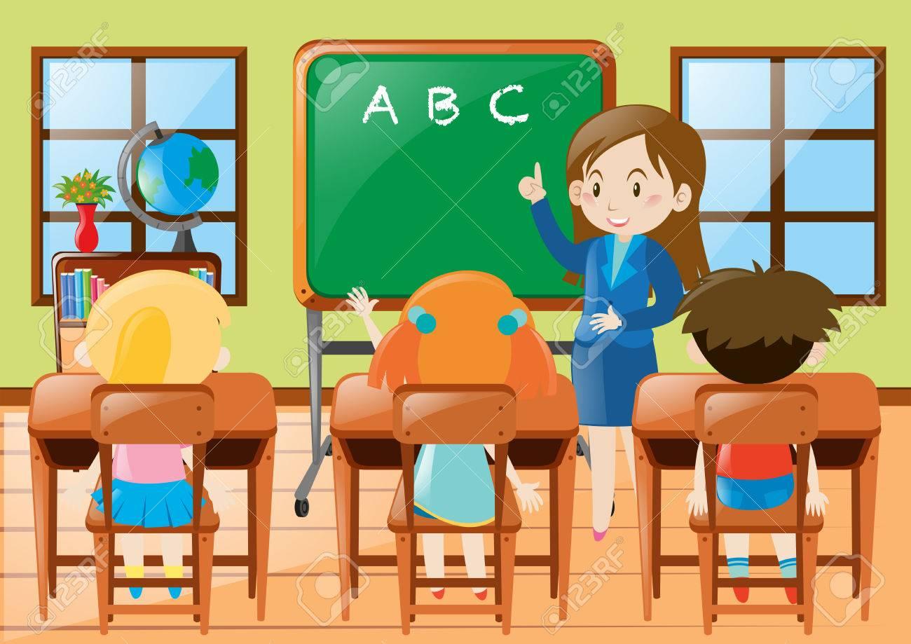 Teacher teaching kindergarten.