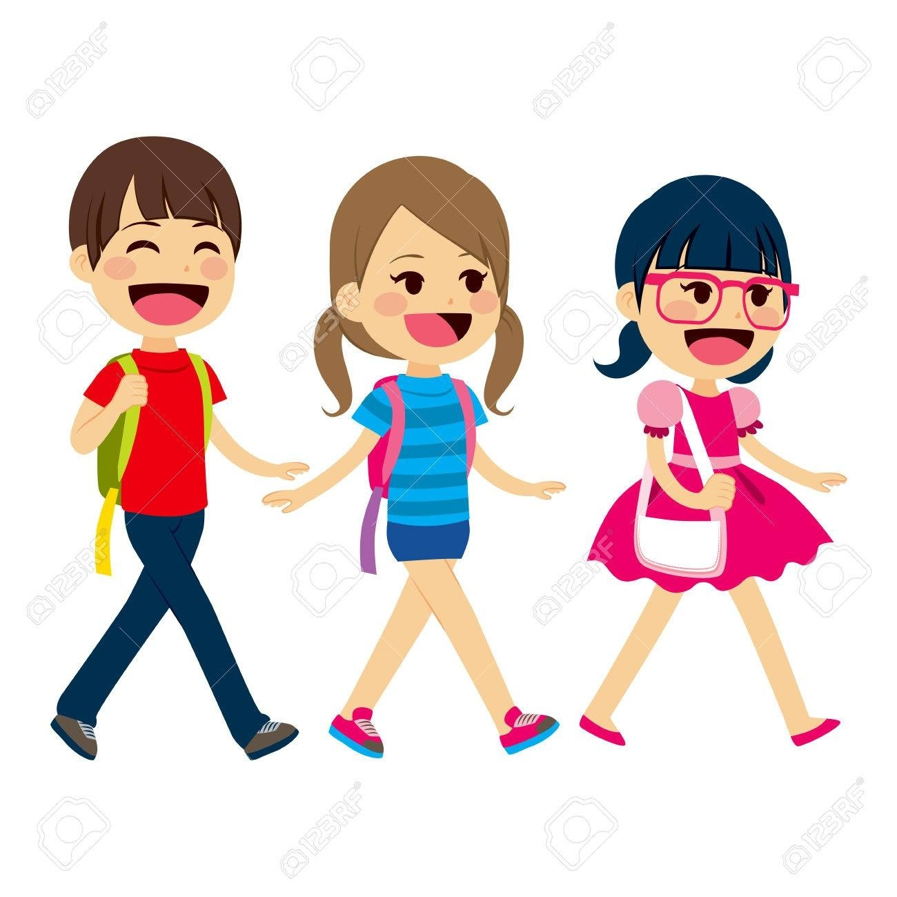 Students walking clipart.