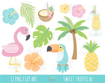 Tropical summer clipart.