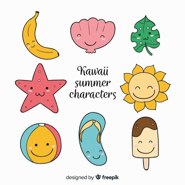 Kawaii summer character.