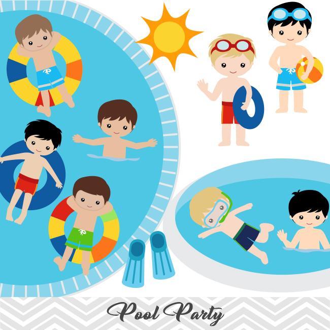 Boys pool party.
