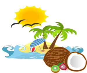 Beach, Sun, Coconut clip art