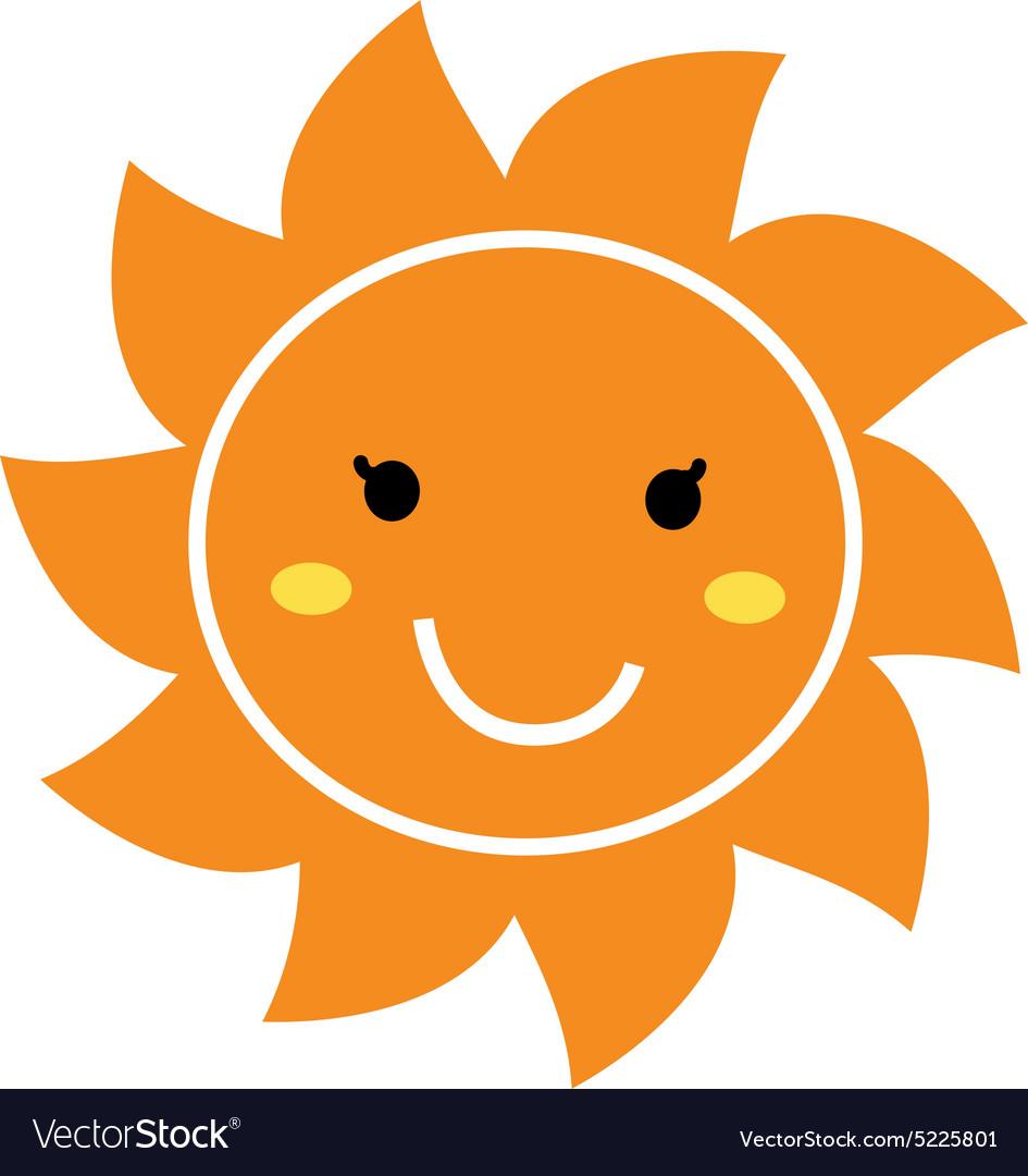 Pretty orange smiling Sun mascot clipart