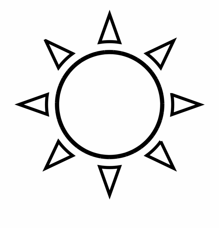 Circle Outline Png Black And White Simple Sun