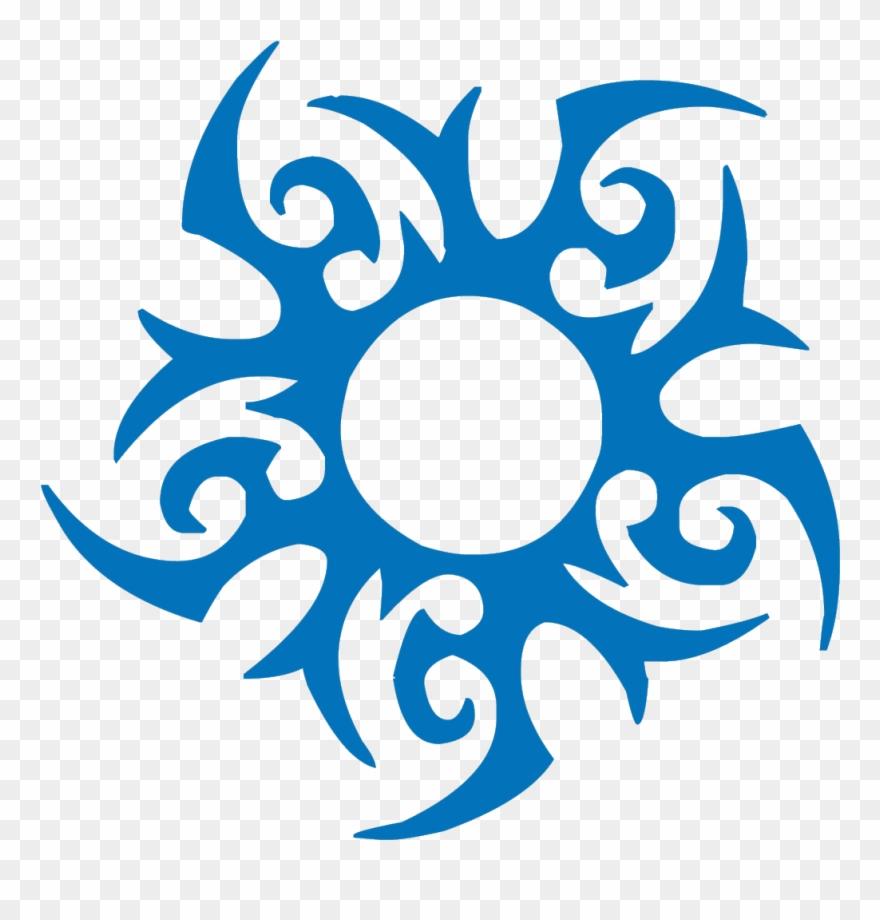 Tribal sun tattoo.