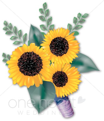Three sunflowers clipart.
