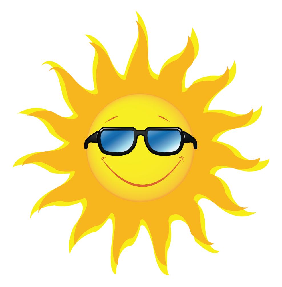 Sun with sunglasses.