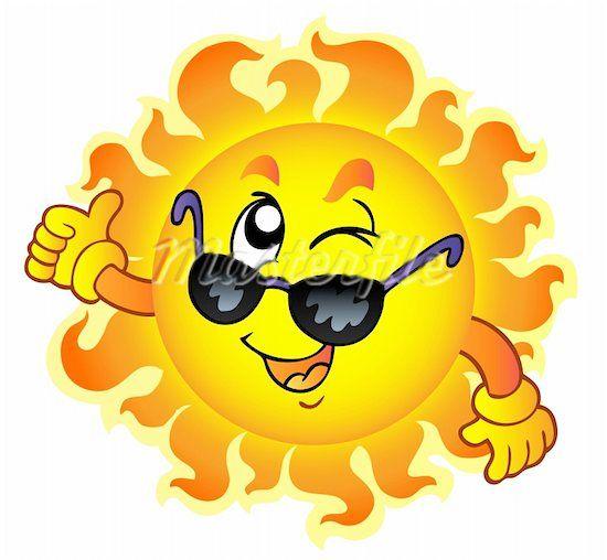 Cartoon sun with.