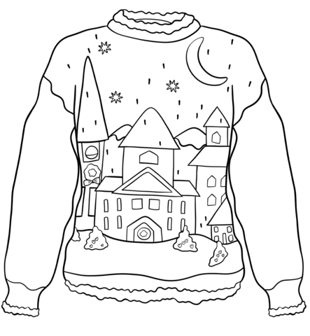 Christmas Sweater with Winter Town coloring page