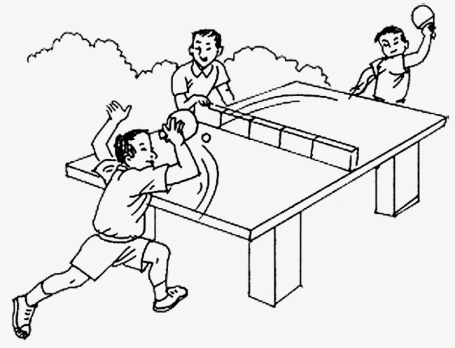 Table tennis clipart black and white