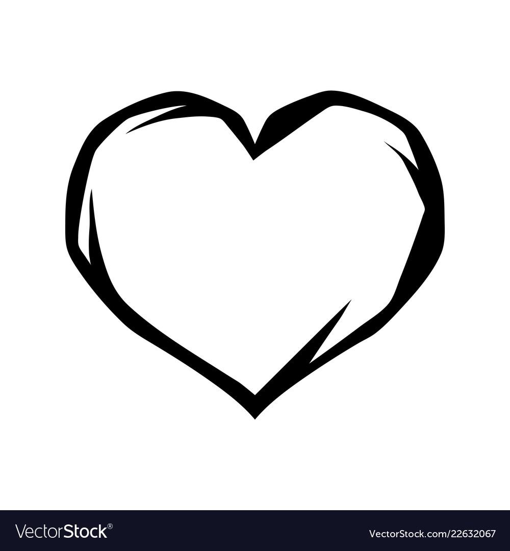 Black heart tattoo symbol
