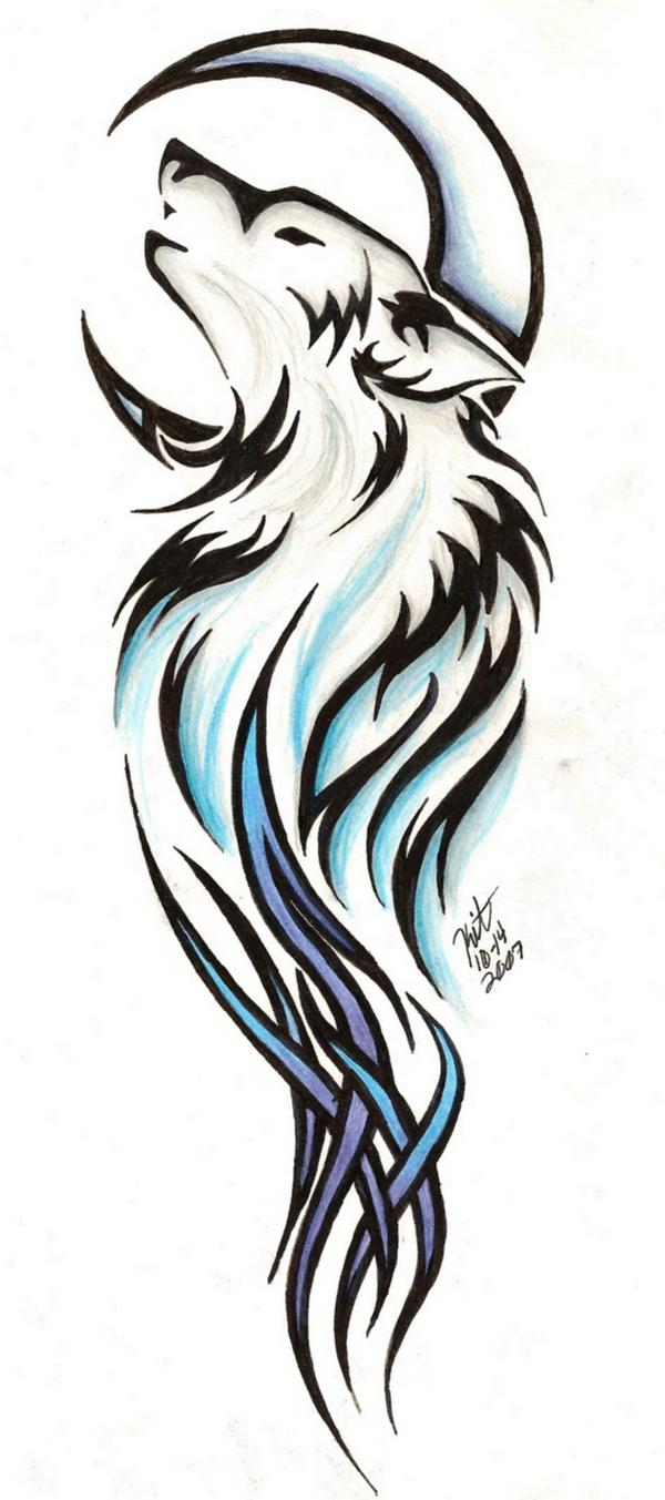 Tribal wolf tattoo by.