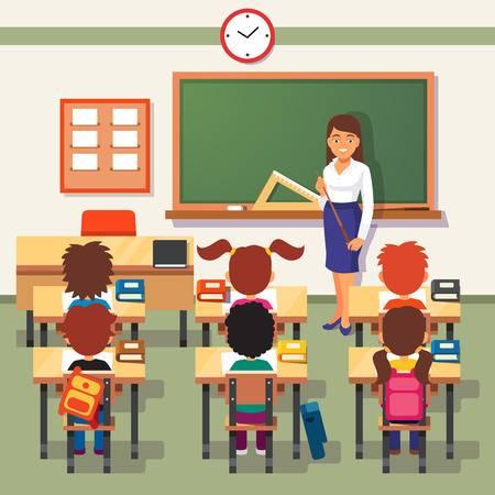 Teacher in the classroom clipart