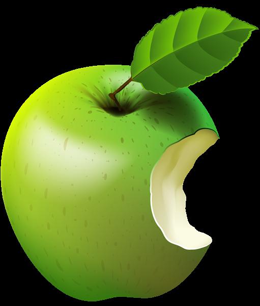Bitten apple green.