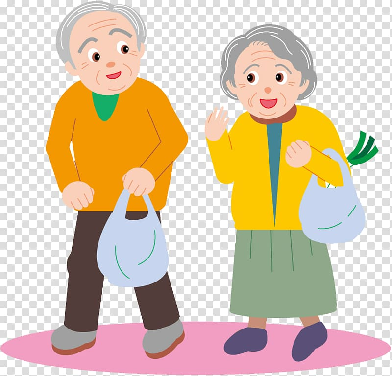 Man and woman illustration, couple Old age Drawing Cartoon