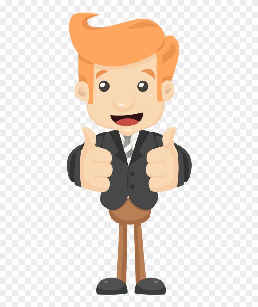 Cartoon Happy Businessman Hands Make Thumbs Up